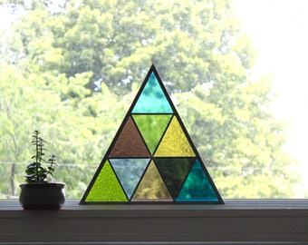 Triangle Stained Glass Panel Geometric / Handmade Triangle Shaped Traingles Multi Color Block Suncatcher Pastel Modern