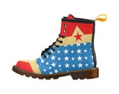 Wonder Woman | Lace Up Boots | Mens & Womens | Unique Steampunk Design PU Upper | Soft Lining | Durable Sole | Light Weight | Comfy