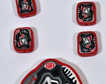 Polymer Clay Beads - Set of 6 plus Focal
