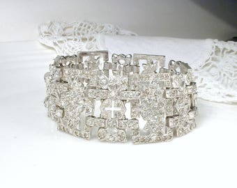 Antique CORO Art Deco Rhinestone Bracelet, Silver WIDE Link Panel French Paste Pave 1920s 1930s Vintage Gatsby Bridal Jewelry Statement Cuff