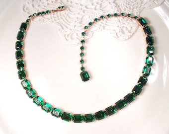 Designer WEISS Gold Emerald Rhinestone Necklace,Vintage Dark Green Bridal Necklace, Crystal Statement Choker Vintage Wedding Jewelry 1950's