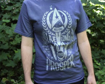 Star Trek Shirt | Live Long and Prosper Star Trek T-shirt | Spock shirt in Vintage Blue with silver ink | Available In Plus Sizes