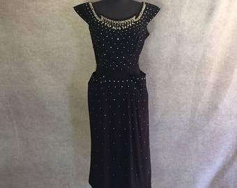 Vintage 50's Wiggle Dress, Black 50's Cocktail Dress, Beaded Black Dress, Sleeveless Fitted Dress, LBD, Small or Extra Small, AS-IS, Pinup