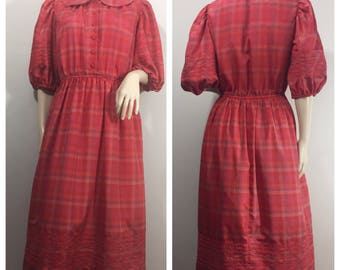 1970s Edna Eysen for Ellen Mitchell Dress // Red Plaid Dress with Peter Pan Collar