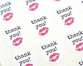THANK YOU labels with pink lips - typewriter font labels - thank you stickers for makeup & cosmetics, lipsense, lipgloss packages