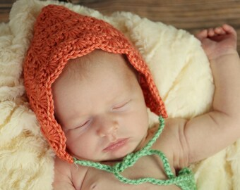 Pumpkin Baby Bonnet - Newborn Baby Hat - Fall Pixie Hat - Photography Prop - Made to Order - Shell Baby Bonnet - Pixie Hat