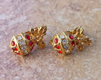 Christmas Tree Ball Ornament Clip On Vintage Earrings Gold Tone Red and Clear Rhinestones