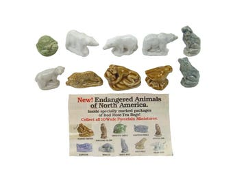 Set of Ten Red Rose Tea Wade England Figurines Some Endangered Species Falcon Turtle Polar Bear Wolf Florida Panther
