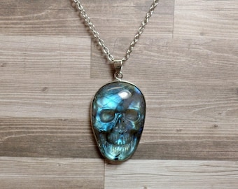 Labradorite Skull Necklace - Carved Gemstone Necklace - No. 4 - Free US Shipping