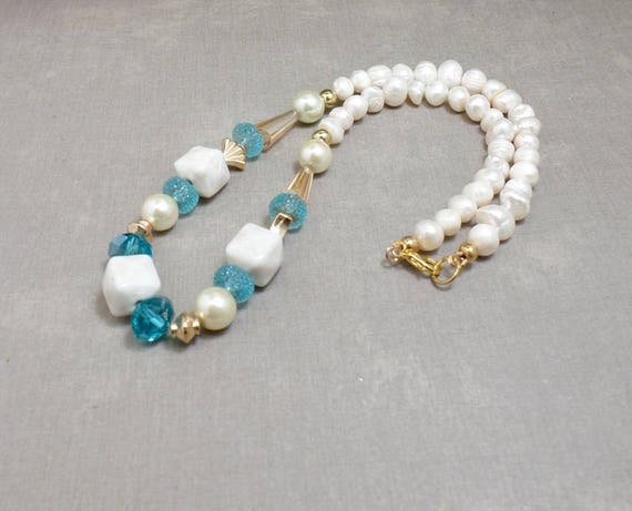 Boho Beach Necklace - Freshwater Pearl Necklace - OOAK - Statement Necklace - Free US Shipping