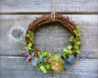 Twig and Succulent Wreath, Small Greenery Wreath
