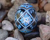 Pysanka in traditional colors blue and black by Katya Trischuk Toronto artists
