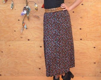 Vintage 80's Floral Button Up Skirt A-line Maxi Skirt Black Red & Yellow Sweet Little Flowers SZ S/M