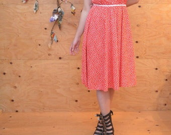 Vintage 70's Dress White & Red Polka Dot A-line Buttons Up The Front SZ Medium