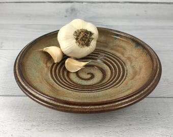 Garlic Grater Dish - Oil Dipping Bowl - Garlic Grater Plate - Appetizer Dish - Herb Recipe Included - In Stock and Ready to Ship