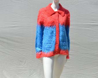 Vintage 70's ACRYLIC vegan faux mohair knitted sweater grandma chic BOHO large oversized by thekaliman