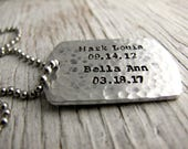 Father's Gift, Personalized Dog Tag Necklace, Men's Jewelry, Military Jewelry, Gift for Him, Aluminum, Hammered