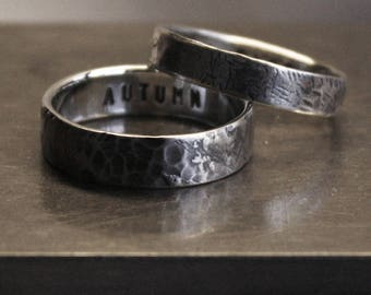 Set of two rings. The WHATEVER rings. Philosophy, history, art in one of a kind rustic distress design. Custom message inside.