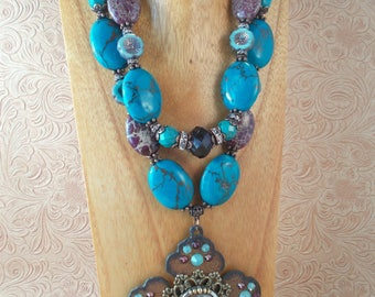 Christian Cowgirl Statement Necklace Set - Chunky Purple Variscite and Turquoise Howlite - Cross Pendant