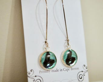 Aqua Cape Breton Island Earrings, Dangle Earrings, CB Earrings, Silhouette resin earrings