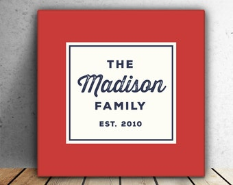 PERSONALIZED FAMILY NAME canvas with Established Date - Wedding Gift - Housewarming Gift - Anniversary Gift - Birthday Gift