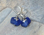 Blue Earrings, Blue Sea Glass Earrings, Plated Silver Earrings, Cobalt Blue Earrings, Dangly Earrings, Cobalt Earrings, Handmade Earrings