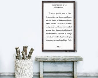 LOVE Is Patient Love Is Kind Sign, Custom Sign, Book Page, Bible Verse, 1 Corinthians 13 Sign, Scripture Sign,  Framed Sign, Home Decor,