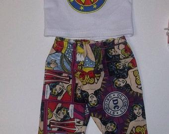 "Wonder Woman pants and top set fits 18"" American girl DC comics GIRL POWER !!!"