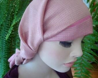 Womens headscarf snood tichel chemo headcover boho headwrap turban silk rayon soft pink ooak pretied head scarf