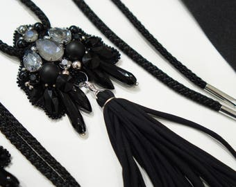 One Tassel necklace with Swarovski elements Crystals and Onyx beads, Fabric tassels, adjustable length, black and grey, handmade