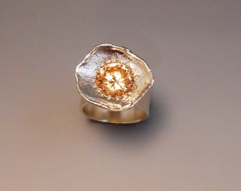Cubic Zirconia Reticulated Sterling Silver Ring Champagne Colored CZ Ring