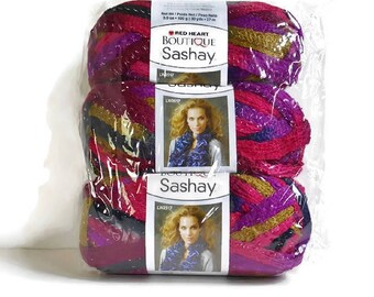 Scarf Yarn SASHAY Boutique Bulky THREE Balls New Red Heart Mambo, Pink Purple Gold Metallic Ruffled Scarf Yarn Knit Crochet Supplies