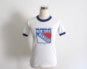 New York Rangers T Shirt Ringer Tee Vintage Small