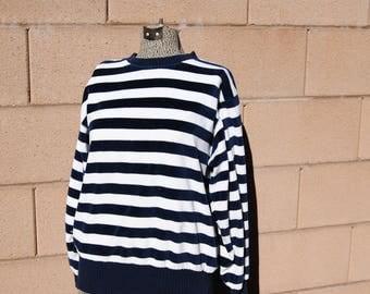Vintage 1980's Navy Blue and White Nautical Striped Velour Shirt