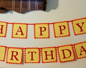 Circus Themed Birthday Banner, Birthday Banner for Child's Party