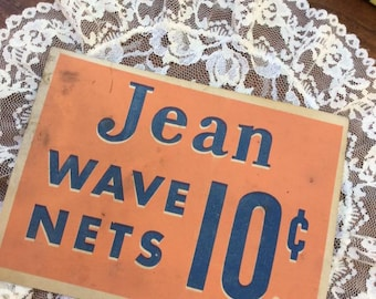 Vintage 1930s Advertising Card For Jean Wave Nets Old Pharmacy/Candy Shop Advertising Beauty Salon Shop Decor Collectible