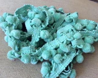 Vintage 1960s 1970s Pom Poms Dingle Balls 115 Light Blue/Green Arts Crafts Sewing