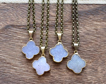 Gold Brass Clover Druzy Necklace/ Natural Crystal Quartz Druzy Stone/ Must Have Gift Stylish Fashion Layering Piece (EP-BND16)