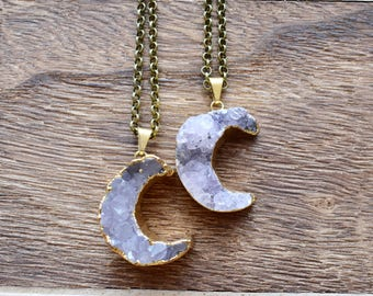 Gold Brass Crescent Moon Druzy Necklace/ Natural Crystal Quartz Druzy Stone/ Must Have Gift Stylish Fashion Layering Piece (EP-BNQ11)