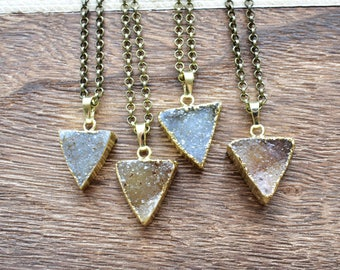 Gold Brown or Grey Brass Triangle Druzy Necklace/ Druzy Triangle Necklace/ Druzy Summer Necklace/ Gemstone Bohemian Necklace (EP-BNQ16)