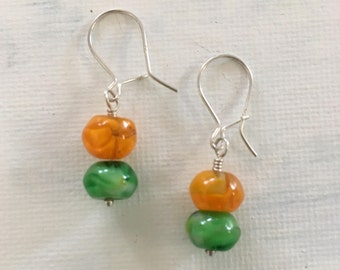 Sale - Three Pairs Sterling Silver Colourful Glass Earrings