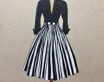 Fashion Painting.Vintage fashion.Vintage Dress.1950s Fashion.Fashion art.Gifts for her.Gifts for women.Mid Century Fashion.Fashion Sketch.