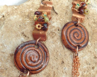 Forged Copper Ceramic Boho Earrings with Chains