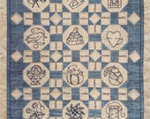 "SALE! Primitive Folk Art Embroidery Pattern - Mini Quilt - 'My LITTLE STITCHES"" - Design by Kathy Schmitz"