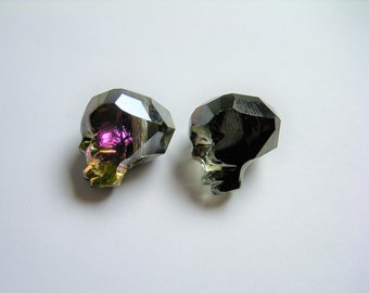 Crystal faceted skull - 2  pcs - 14mm - Mystic Black - SFB19