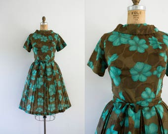 1960s Tropical Greenery turquoise & mocha dress / 60s floral beauty