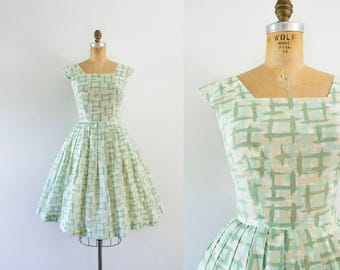 1960s Green Acres cotton avocado day dress / 60s crosshatch