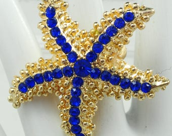 Starfish Ring/Gold/Blue/Rhinestone/Beach/Ocean Jewelry/Summer Jewelry/Statement Ring/Gift For Her/Adjustable/Under 20 USD