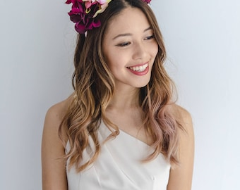 statement flower crown // pink wine spring racing flower crown / spring races flower crown headband / flower fascinator bohemian