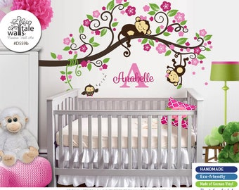 Blossom Branch with Monkeys and owl for nursery, baby room, play room. Removable, high quality wall decal. Hot and soft pink flowers. d559b